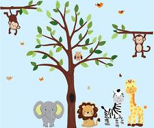 Jungle Animal Wall Decal, Jungle Tree Decal, Animal Wall Stickers, Lion Wall Art