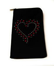 Stoff Reissverschluss Handy Tasche Etui schwarz mit Strass Motiv Herz silber rot
