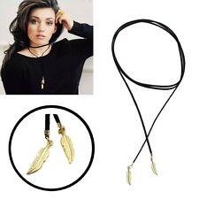 Collier noir en cuir avec pendentif plume de mode pour femme longueur de 160 cm