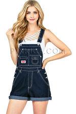 Revolt Women's Classic Denim Twill Vintage Multi Pocket Overalls Retro Shortalls