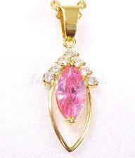 Diamante Sintético Rosa Collar 18k Chapado en Oro Negro Claro Cadena +