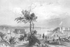 BAY OF NEW YORK Fort Hamilton STATEN ISLAND ~ 1838 Landscape Art Print Engraving