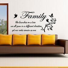 Pared Frases Familia, como RAMAS EN UN ÁRBOL Adhesivo mural decoración v59