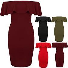 Womens Off Shoulder Ruffle Frill Bardot Bodycon Stretch Mini Short Pencil Dress