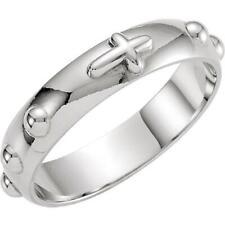 14K White Gold 5MM Rosary Ring