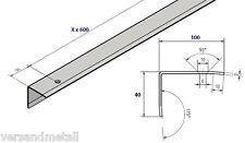 Garagen-Profil, 100x40x2,0mm gebohrt Edelstahl Konstruktionsprofil Aussen  K320