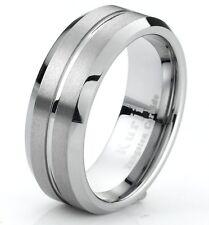Modern Band Matte Finish Beveled Edges Tungsten Wedding Band Ring 8mm Men's