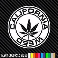 California Weed Marijuana Ganja Pot Grass Smoking Car Bumper Vinyl Sticker Decal
