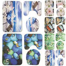 Beach Flowers Stones Print 3Pcs Bath Mat Set Pedestal Rug Lid Cover Bathroom Mat
