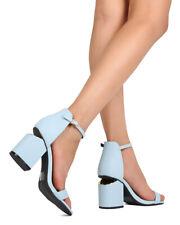 New Women Qupid Bosa-01 Leatherette Open Toe Slit Chunky Heel Ankle Strap Sandal
