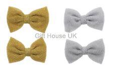 Set of 2 Glittery Bridal Hair Bows Clip Wedding Ladies Girls Party Fancy Dress