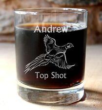 Personalised Pheasant Shoot, Hunting Shooting Gift Whisky Tumbler. Optional Box.