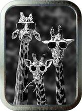 Cool Giraffe  2oz Silver Tobacco Tin,  Storage Tin. Sweet Tin, Animal