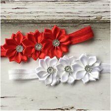 Miss MARIA - CHRISTMAS Newborn Baby Girls Trio Flower Stretch Headband Red/White