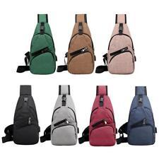 Casual Sports Men Chest Pack Canvas USB Charging Crossbody Shoulder Handbag