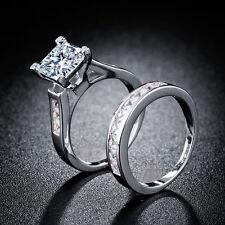 Women 925 Silver Princess Cut 2.55ct White Sapphire Elegant 2pcs Ring 6-10