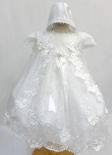 Infant Baby Girl Christening Baptism Dress Gown Size 01234 (0-30M)  White