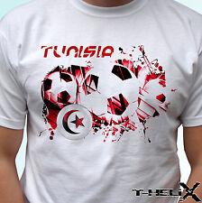 Bandera de fútbol de Túnez-Blanco T Shirt Top Diseño-Para Hombre Mujer Niños Bebé Tamaños