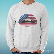 "FELPA UOMO LEGGERA SWEATER GRIGIO CHIARO GREY "" BOCCA LABBRA LIPS AMERICAN FLAG"""