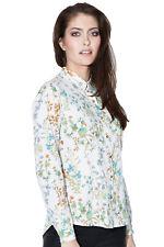 Sugarhill Boutique Cream Botanical Blouse 8-16 Pretty Floral Print Shirt