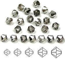 Czech MC Glass Bicone Beads (Rondell/Diamond) Crystal Platinum Steel coated