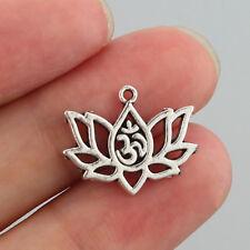 10/20pcs Antique Silver Lotus Flower OM OHM AUM Yoga Charms Pendant 20*16mm