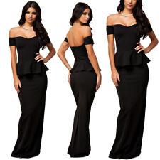 Abito elegante lungo donna vestito da sera cerimonia nero maxi matrimonio DS6244