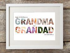 Personalised Happy Christmas Grandma Grandad Word Art Photo Print Gift Granddad