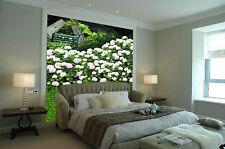 Papel Pintado Mural De Vellón Blanco Flores Jardines 3 Paisaje Fondo De Pantalla