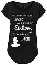 Ladies Damen Long Slub Tee T-Shirt Unicorn Einhorn cutie Sei immer du selbst