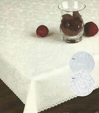 RETTANGOLARE Macchia Resistente Bianco o Crema TABLECLOTH con design RICAMATO