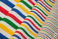 Multicolor Rayas en Blanco - Tejido Estampado de Polialgodón - Ancho 112Cm