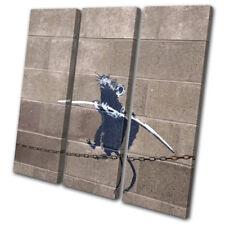 Graffiti Pop Rat Banksy Street TREBLE DOEK WALL ART foto afdrukken