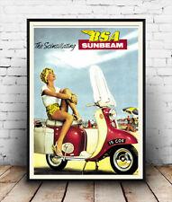Bsa sunbeam, vintage scooter affiche publicitaire reproduction.