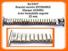 BRACELET MONTRE EXTENSIBLE ARGENTÉ MARQUE ADMIRA Acier Inoxydable 22 mm Ref.EX07
