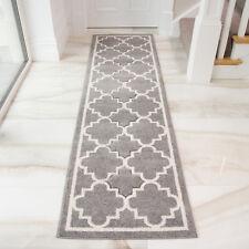 Light Grey Silver Geometric Trellis Greys Modern Living Room Runner Floor Rug