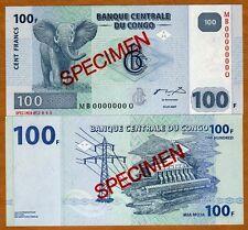 SPECIMEN, Congo D.R. 100 Francs, 2007 P-98As, UNC > G&D