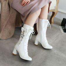 Women Round Toe Bowknot Block Heels Calf Mid Boots Winter Sweet Girl Shoes Plus