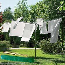 Nuevo 4 Brazo Giratorio Tendedero Secador de línea de lavado de jardín al aire libre + Cubierta y Spike