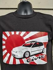 92-95 Honda Civic Hatchback Si JDM EG EG6 Japan japanese flag t-shirt  rare