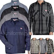 Ben Davis Long Sleeve Shirts POCKETS Hickory Stripe Solid Color 1/2 Zipper Shirt
