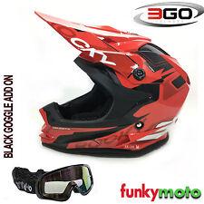 3GO XK188 ROCKY CUB RED KIDS HELMET MOTOCROSS MX MOTORBIKER ACU ECE ADD GOGGLE