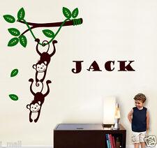 Monkey Hanging on a Branch Vine FREE personalise name Wall Sticker Kids/Nursery