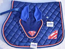 Super man saddle pad set fly veil cheval bonnet strass équestre trois couleurs