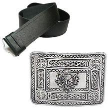 Nuevo Para hombres Cuero Grano Kilt Cardo Hebilla de cinturón y antiguo Celta-Elija Tamaño