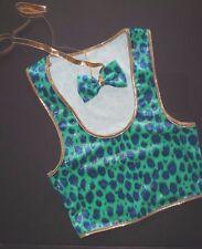 Nwot Dance Costume Vest Gold Glittered Velvet Leopard w/ bowtie small child
