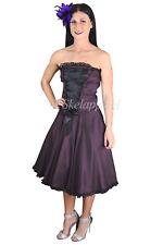 Purple satin dress bridesmaid cocktail party Corset Front strapless satin Dress