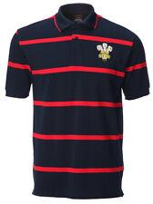 Da Uomo Welsh Rugby Blu Navy filati tinti di Rosso Stripe Polo Shirt Cymru Galles Dragon Regalo