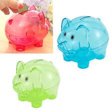 Piggy Bank Coin Money Plastic Still Savings Toy Cash Safe Box Kid Pig Gift X3R
