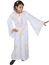 Kinder Kaftan Mädchen Kleid Prinzessin Kostüm weiss-gold im 70er Look - KK0065